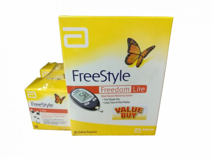 freestyle freedom lite glucose meter package with 50 strips by abbott