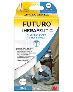 Futuro Diabetic Socks, For Men & Women,M,White