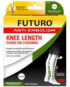 Futuro Anti-Embolism Stockings, Knee Length, Closed Toe, L Regular, White